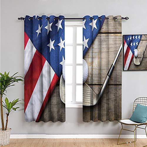 Cortinas opacas deportivas para ventana, 160 cm de largo, pelota de golf con bandera de Estados Unidos, uso repetible de 132 cm de ancho x 163 cm de largo