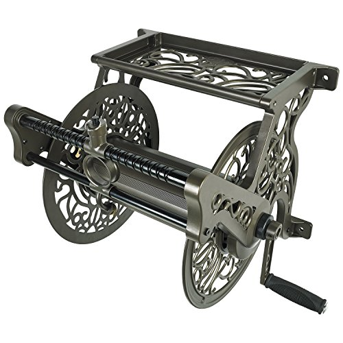 Liberty Garden 707 Decorative Wall Mount Garden Guide Hose Reel, Bronze