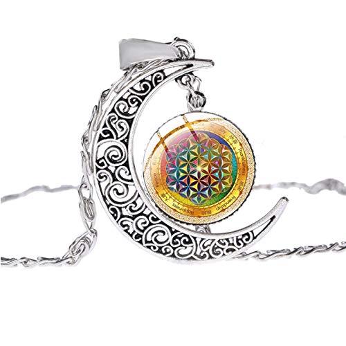 Elegante Collar De Luna Joyería De Mujer Geometría Sagrada Mandala Patrón Pintado Cabujón De Cristal Colgantes De Luna