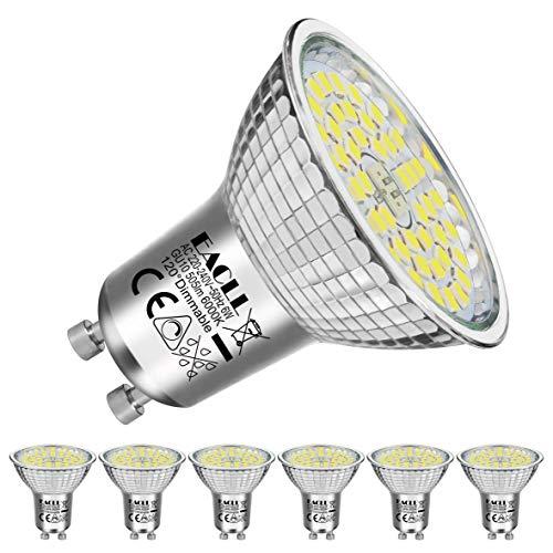 EACLL GU10 LED 6W 6000K Kaltweiss Dimmbar Leuchtmittel 505 Lumen Birnen Stufenlos Kontinuierlich Dimmen PAR16 Reflektor Lampen, AC 230V Flimmerfrei Strahler, 120 ° Kaltweiß Licht Spotleuchten, 6 Pack