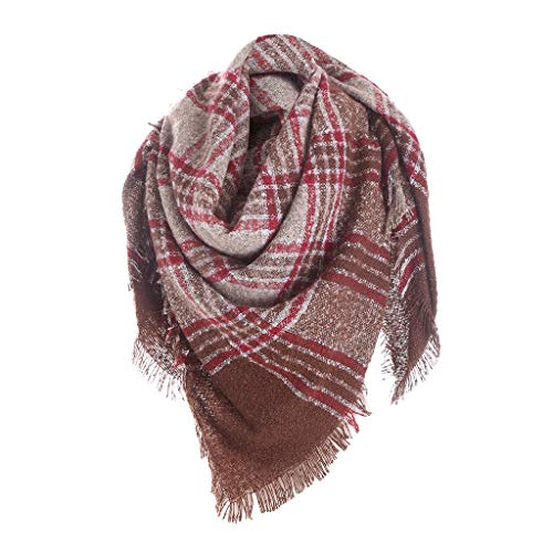 Price comparison product image Huarll Womens Stylish Multi-color Thick Shawl Large Knit Scarf Winter Warm Wool Comforty Scarves with Classic Tassel (S714)