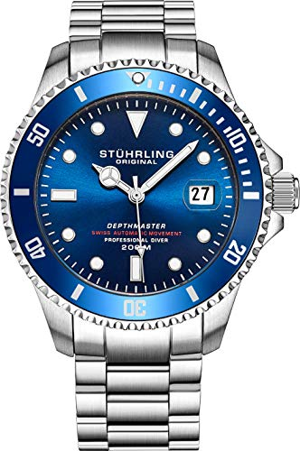 "Mens Swiss Automatic Stainless Steel Professional""DEPTHMASTER"" Dive Watch, 200 Meters Water Resistant, Brushed and Beveled Bracelet with Divers Safety Clasp and Screw Down Crown (Blue)"