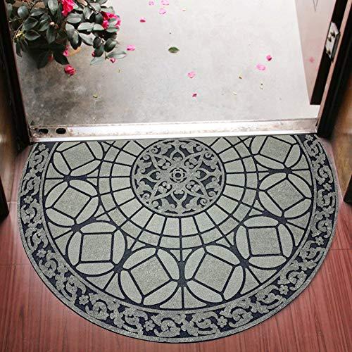 Eanpet Sassafras Doormat Outdoor Decorative Rubber Mat for Front Door Entrance Mat Indoor 2x3 Rug for Front Door Entry Non Slip Mat Outside Doormat Half Round (Grey Light Navy)