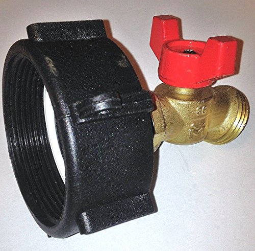 275-330 GALLON IBC TOTE TANK ADAPTER 2' NPS Fine x BRASS Hose FAUCET VALVE