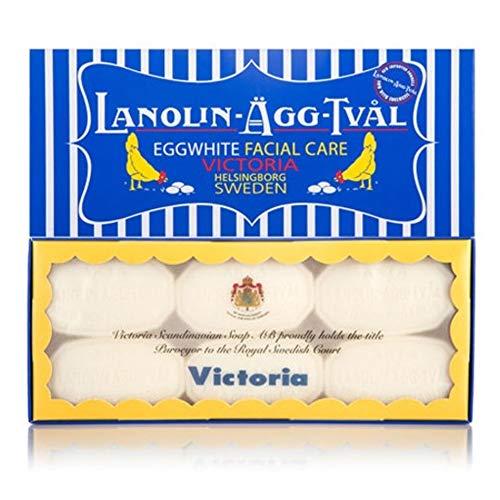 Lanolin-Agg-Tval Swedish Eggwhite Soap - 1 Box of 6-50g bars