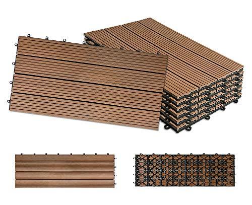 LeMeiZhiJia 12x Balkonfliesen Terrassen WPC Kunststoff klick Fliese Terrassendielen in Holz-Optik Zusammenbaubar Garten klick-Fliese ca. 2m²(30x60cm/Stück, Braun)