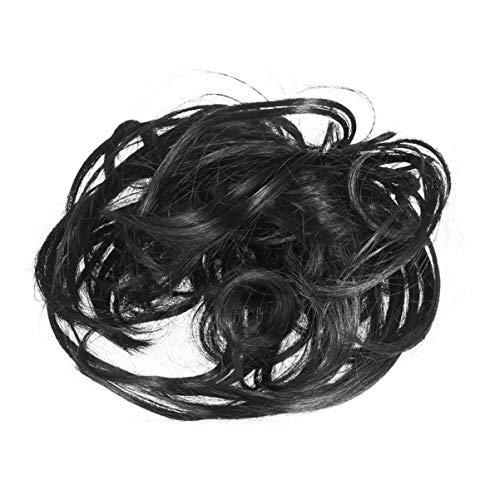 Lurrose Extensiones de Moño para El Cabello Despeinado Peinado para El Cabello Gomas para El Cabello Pelos Desordenados Cola de Caballo Banda de Goma Elástica Peluca Corbata para Mujeres Niñas (Negro)