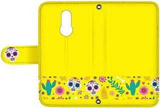 スマQ LG Style L-03K 国内生産 ミラー スマホケース 手帳型 LG エルジー エルジー スタイル 【C.イエロー】 シュガースカル メキシカン カラフル ami_vd-0154