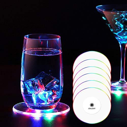 TINYOUTH LED-Untersetzer für Getränke, Einweg-LED-Untersetzer, wasserdicht, leuchtende Untersetzer für Getränke, Acryl-Untersetzer für Partys, Hochzeiten, Bar, Weihnachten, bunte LED-Untersetzer