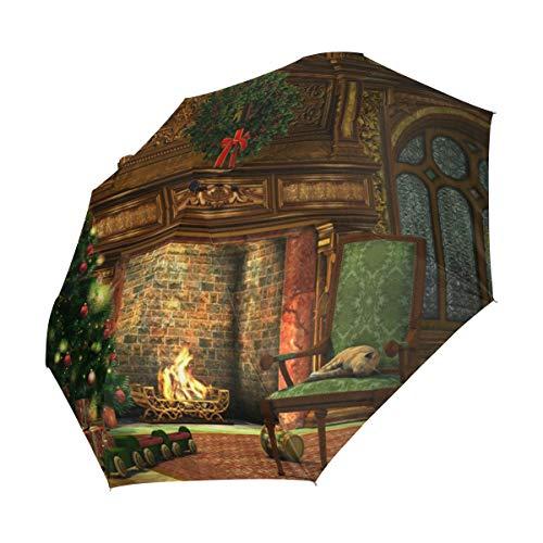 XiangHeFu Regenschirm für Winter, Urlaub, Kamin, Weihnachtsbaum, automatisches Öffnen und Schließen 3 Falten, leicht, UV-Schutz