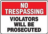 壁の装飾のためのアルミニウム金属サイン、安全侵入者違反は起訴されません、面白いリビングルーム注意アートマン洞窟キッチンレトロポスター