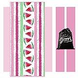 Microfiber Beach Towels Flamingo Oversize Beach Blanket Towel 30 x 60 Inch Portable Absorbent Beach Soft Water Absorbent Beach Throw Towel for Adults Girls Women Kids (Red,Watermelon)