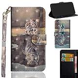 Ooboom Sony Xperia XZ3 Hülle 3D Flip PU Leder Schutzhülle Handy Tasche Hülle Cover Ständer mit Kartenfach Trageschlaufe für Sony Xperia XZ3 - Katze Tiger