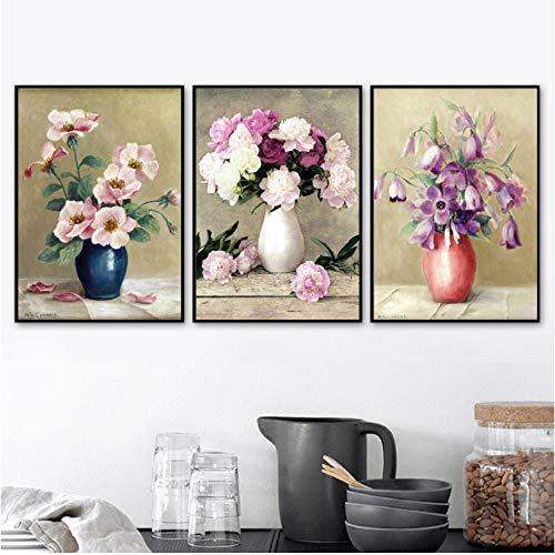 Vaas pioen Bloem Scandinavische Posters en Prints Muur Kunst Canvas Schilderen Olieverfschilderij Decoratie Foto's voor Woonkamer Home Decor 50x70cmx3 ongekaderde