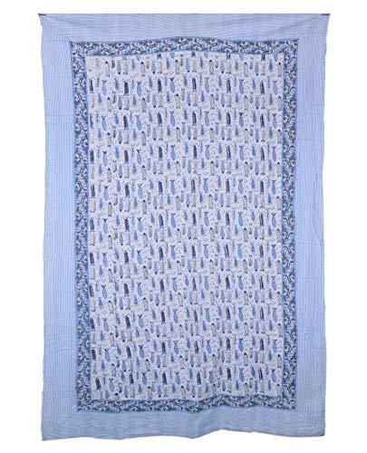 Yuvancrafts Colcha de Kantha con estampado de peces indios con estampado tradicional de mandala, colcha para cama individual