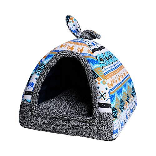 NOBRAND Weiches Haustier-Jurten-Nest-Hundebett-Welpen-Hundehütte-Katzen-Zelt-Kleintier-Ausgangshundehaus mit Matte Chihuahua-Kissen Aller Jahreszeiten