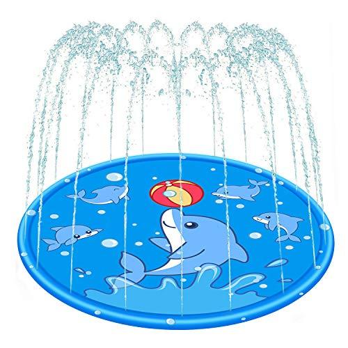 RUSHAIBAR Sprinkler for Kids Splash Pad Water Toys Wading Pool Play Mat for Children Dogs Outdoor Fun Backyard Fountain for Girls Boys Children Baby