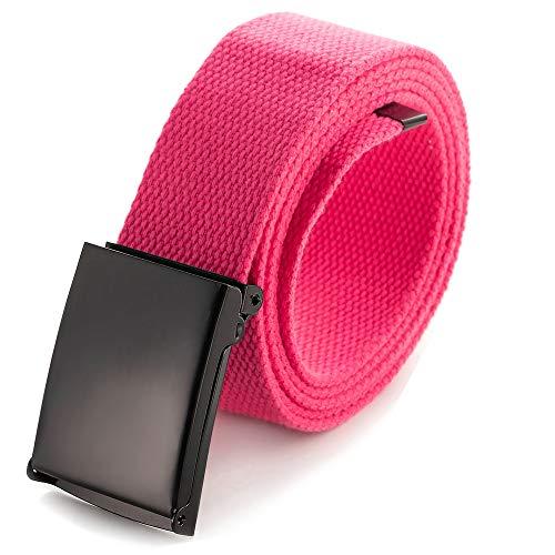 Zugeschnittener Gürtel aus Leinen, Größe bis 132 cm, mit Flip-Top, einfarbige schwarze Militärschnalle (16 Farben und Kombinations-Pack-Optionen), Pink