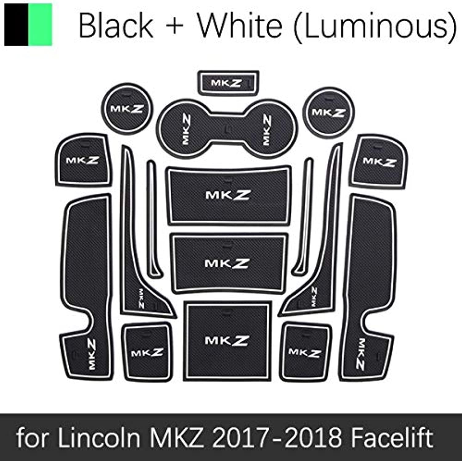 AntiSlip Rubber Mats Gate Slot Cup Mat for Lincoln MKZ 2017 2018 2019 Facelift 17pcs Set Accessories Car Stickers Car Styling  (color Name  White Luminous)