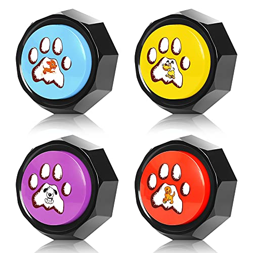 BENGLY Set of 4,Recordable Button - Dog Training Buzzer-Record & Playback Your Own Message,Personalized Sound Buzzers, Talking Button, Easter GITS for Kids (Battery Included)
