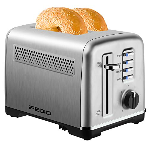 Toaster 2 Slice Best Rated Prime Stainless Steel Toasters with Removable Crumb Tray Two Slice Toaster with Quick Check/ Reheat/ Cancel/ Bagel/ Defrost Functions Extra-Wide Slot Toasters with 7 Browning Settings