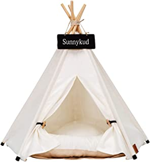 Sunnykud Pets Teepee Dogs Tent Stripes Zebra Pattern Removable and Washable Cats Tents Dog/Cat Bed Play House With Cushion 60x60x70cm