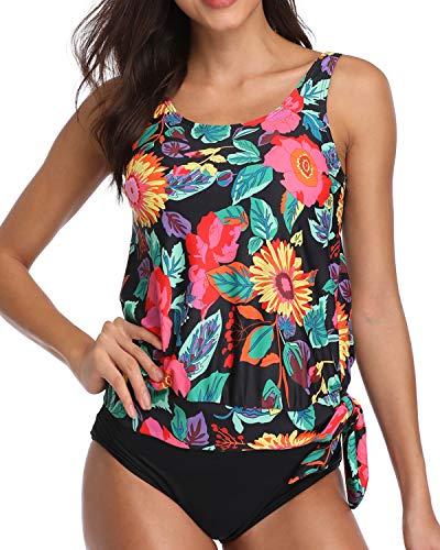 AnnJo Women Two Piece Scoop Neck Floral Print Blouson Tankini Swimsuits with Bikini Bottom Black XX-Large