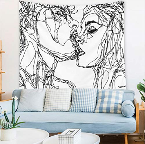 Gogolay Abstract Sketch Art Kiss Lovers Tapestry, Man Kiss Woman Tapestry, Black and White Tapestry Art Wall Hanging Tapestry for Bedroom Living Room Dorm