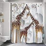 Duschvorhang 100prozent Polyester Anti Schimmel Wasserdicht Waschbar Beschwertem Saum Giraffe Duschvorhang Mit Ringen 240 X 200 cm Mit 12 Ringen Haken Für Dusche Und Badewanne