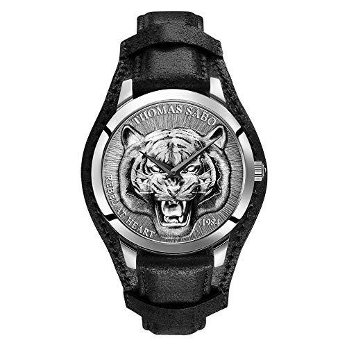 THOMAS SABO Herren Analog Quarz Uhr mit Leder Armband WA0367-203-201-42 mm