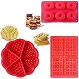 QAQGEAR Paquete de 3 moldes para gofres y moldes para hornear rosquillas Moldes para hornear de gofres de silicona en forma de corazón en forma cuadrada, molde para muffins, antiadherente