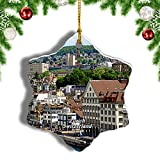Weekino Suiza Limmat Zúrich Decoración de Navidad Árbol de Navidad Adorno Colgante Ciudad Viaje Porcelana Colección de Recuerdos 3 Pulgadas