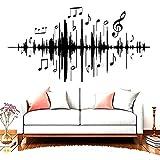Pegatinas de pared con sonido de música pegatinas de pared de vinilo de frecuencia musical para la habitación de los niños sala de estar de jardín de infantes familia