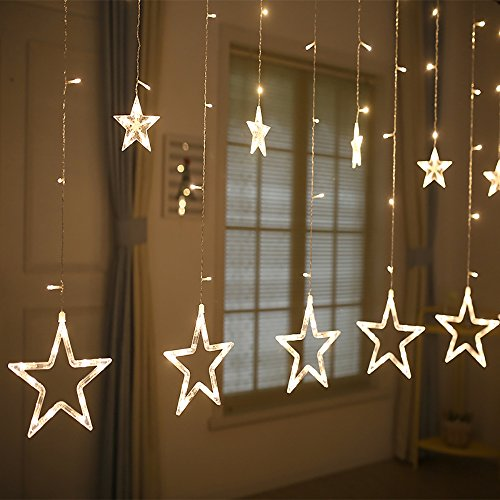 Valuetom Star Curtain Lights, 2M Fairy String Lights with 12 Stars 138pcs LED, 8 Modes Window Curtain Lights, Fairy Lights for Christmas/Wedding/Party/Garden Decorations