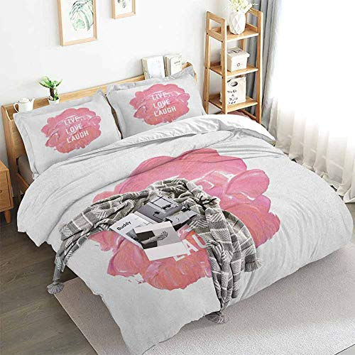 Live Laugh Love Duvet Cover Set,Motivation Boosting Phrase with Brush Stroke Paint Smear Background,Decorative 3 Piece Bedding Set with 2 Pillow Shams,Queen(90'x90') Coral Pale Pink
