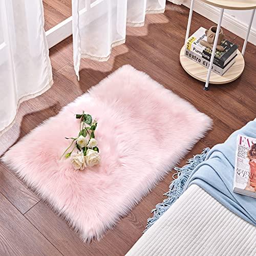 Cumay Piel de Imitación, Artificial Alfombra, excelente Piel sintética de Calidad Alfombra de Lana ,Adecuado para salón Dormitorio baño sofá Silla cojín (Rosa, 60 X 90 cm)