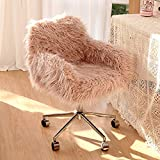 Recaceik Faux Fur Vanity Chair, Pink Arm Chrome Base Office Compact Padded Seat, Upholstered Decorative Furniture Ottoman Desk Chairs for Teens Girls, Living Room, Bedroom and Dressing Room