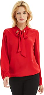 Womens Chiffon Blouse Bow Tie Neck Tops Long Sleeve Casual Office Work T Shirts