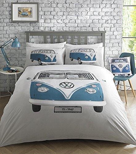 Volkswagen VW Official Licensed 'On Tour' design, Duvet Quilt Cover Set, Bedding (Double Set)