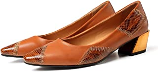 Gold Cloud Women GC0431 Leather Pointed Toe Heeled Comfort Pump Shoes