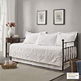 "Madison Park Viola 5 Piece Tufted Cotton Chenille Daybed Set, 75""x39"", Damask Embroidery White"