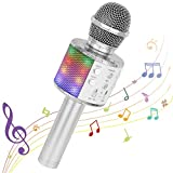 Bluetooth Karaoke Wireless Microphone, Ankuka 4 in 1 Handheld Karaoke Machine Speaker Player with Dancing LED Lights for Home KTV Party/Kids Singing (Silvery)