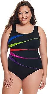 Longitude Women's Plus Size Swimwear Shine Bright Fan Tank Tummy Control Long Torso One Piece Swimsuit