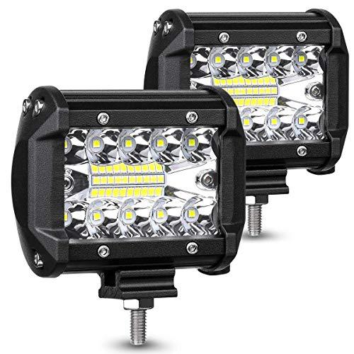 LED Phare 12v, EKLAMP 60W Phare de Travail, Longue Portee LED, Phare LED Moto, Phare de Travail Voiture, Bar LED Voiture, Feux de Travail, Lampe de Travail pour ATV, IP67 6000-6500K (2PCS)