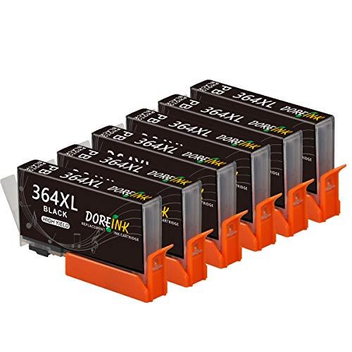 DOREINK 364XL Reemplazo Compatible para HP 364 XL 364XL Multipack Compatible HP Photosmart 5510 5520 6520 B8550 C5388 7510 7520 5524 6510 5515 HP Officejet 4620 4622 HP Deskjet 3070A 3522 (6 Negro)