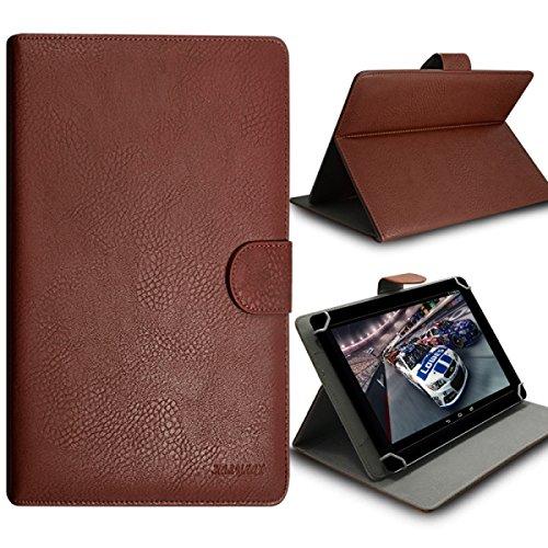 Seluxion - Funda tipo libro universal con tapa y función atril para Sony Tablet Xperia Z3 Compact 8', color marrón