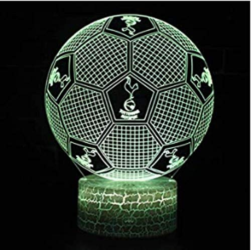 3D Illusion Lamp LED Voetbal Nachtlampje 16 Kleuren Tafellamp Kerst Verjaardagscadeau voor Tottenham Hotspur Voetbalfans Kinderen USB Voedingskabel