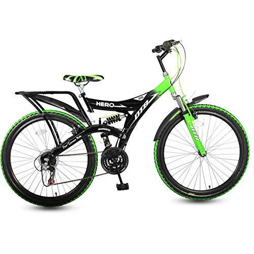 Hero Ranger 18 Speed DTB Vx 26T Mountain Bike, Black and Green, Wheel...