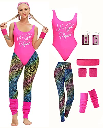 Women's 1980s Let's Get Physical Pink Leotard Costume with animal print leggings and accessories