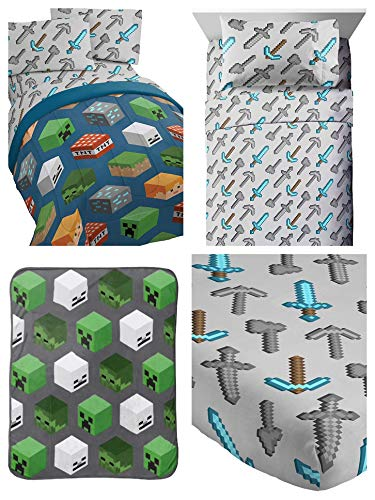 Kids Minecraft Creeper 5 Piece Twin Bed Set, Includes Reversible Comforter, Sheet Set & Plush Throw - (Official Minecraft Products)